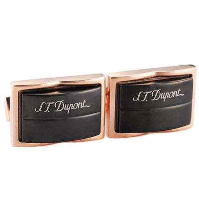 Best Christmas Gift S.T.Dupont Black Arched Surface Logo Rose-Gold Cubic Men's Cufflinks