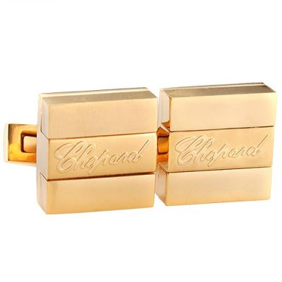Best Replica Chopard Gold Cubical Cufflinks Carved Logo Center Office Style For Men