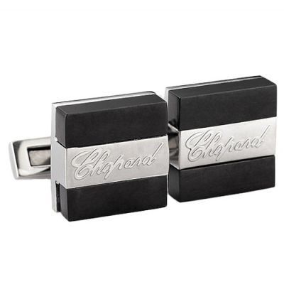 Top Sale Chopard Engraved Logo Black & Silver Cubic Elegant Men's Business Cufflinks