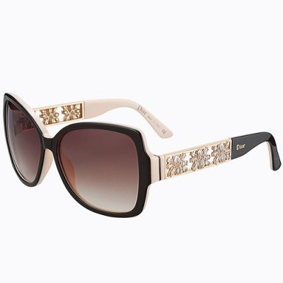 Dior Luxury Jewelry Black Temples Tips Womens Street Fashion Brown Lenses Sunglass