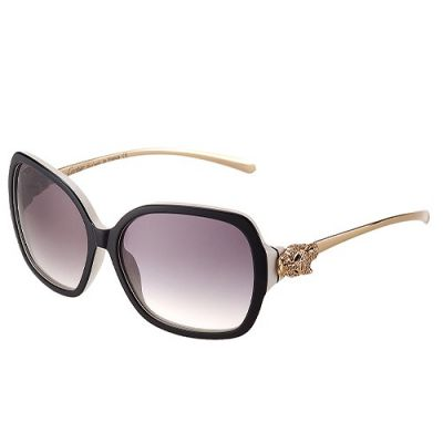 Panthere Wild De Cartier Butterfly White & Black Frame Purple Lenses Diamonds Gold-plated Panther Ornament Women Sunglasses