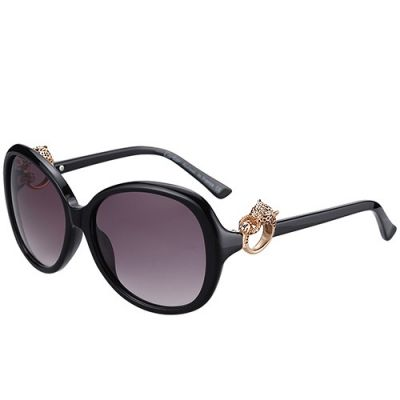 Cartier Luxury Rose Gold Panthere Ornaments Black Frame Ladies Sunglass Outdoor Sport