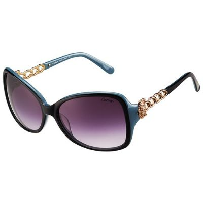 Cartier Panthere Decor Butterfly Black & Blue Frame Gold-Plated Chain Panther Purple Lenses Latest Design Women Sunglasses