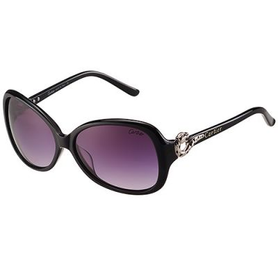 Panthere De Cartier Oval-Shaped Oversized Black Frame Silver Finish Panther Purple Lenses Sunglasses For Women