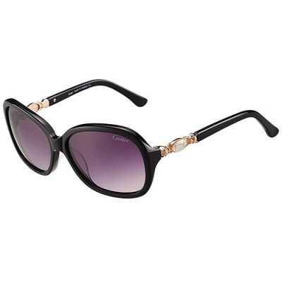 Cartier Oval Black Frame Gold-Plated Double C Sign Owl Pattern Purple Lenses High-quality Women Sunglasses