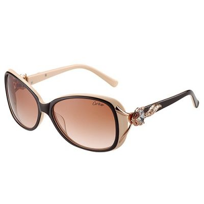 Cartier Decor Butterfly Black & Beige Frame Rose Gold-Plated Crystals Finish Brown Lenses Lady Sunglasses For Sale