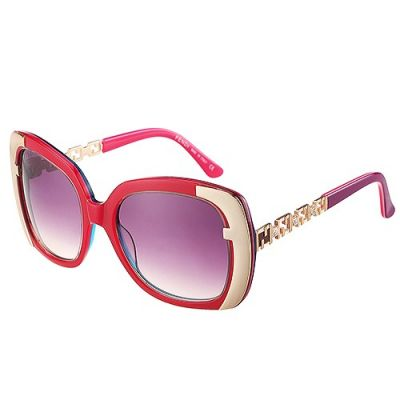 Fendi Ovsized Red & Gold Frame Luxe Hinges Womens Oval Diamonds Clone Sunglass
