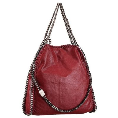 Most Popular Leather Shoulder Bag Stella McCartney Falabella Tote Dark Red Chain Straps Fabric Lining
