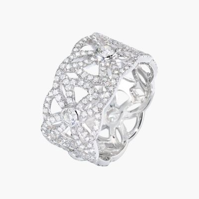 Piaget Extremely Diamonds Ring Wide Hollow Lace Design Elegant Fine Jewelry Engagement Gift US Sale G34l2C00