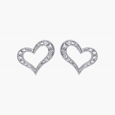 Piaget Heart Diamonds Earrings Open Design Silver Latest Celebrity Style Valentine'S Day Lady Jewelry G38H0100
