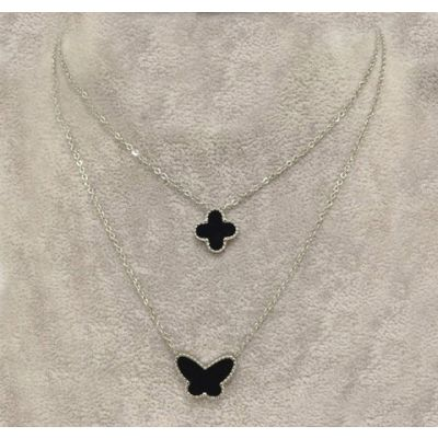 Van Cleef & Arpels Lucky Alhambra Replica White Gold Double Necklace Black Clover & Butterfly Pearl Pendants Price Canada