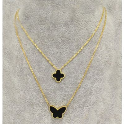 Van Cleef & Arpels Lucky Alhambra Dual Necklace Fake Yellow Gold Black Clover & Butterfly Pearl Pendants Vintage Style