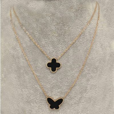 Replica Van Cleef & Arpels Lucky Alhambra Dual Chain Necklace Pink Gold Black Clover & Butterfly Pearl Pendants UK