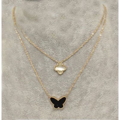 Van Cleef & Arpels Lucky Alhambra Double Chain Necklace Replica Pink Gold Black Butterfly & White Pearl Clover Pendants