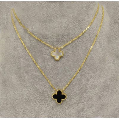 Van Cleef & Arpels Lucky Alhambra Dual Necklace Replica Yellow Gold Chain Black & White Pearl Clover Pendants
