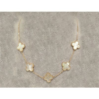 Van Cleef & Arpels Vintage Alhambra 5 White Clover Pearl Pendant Necklace Replica Yellow Gold Online Singapore
