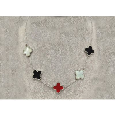 Replica Van Cleef & Arpels Vintage Alhambra 5 White Black Red Clover Pendants Necklace White/Yellow Gold