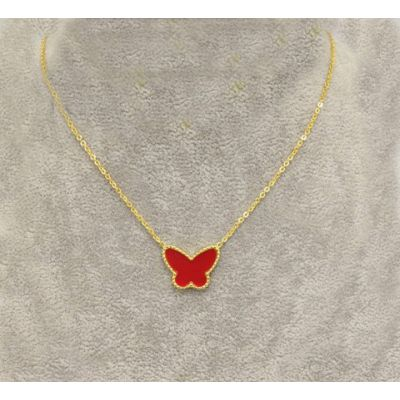 Van Cleef & Arpels Lucky Alhambra Replica Yellow Gold Necklace With Red Pearl Butterfly Pendant