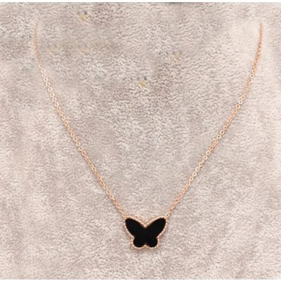 Van Cleef & Arpels Lucky Alhambra Necklace Black Butterfly Onyx Pendant Replica Pink Gold Celebrities
