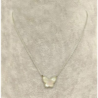 Cheap Van Cleef & Arpels Lucky Alhambra White Gold Necklace Replica White Pearl Butterfly Pendant