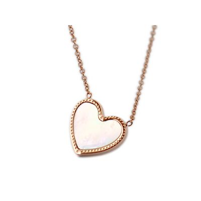 Van Cleef & Arpels Sweet Alhambra Heart Mini Pendant Necklace Replica Pink Gold For Sale