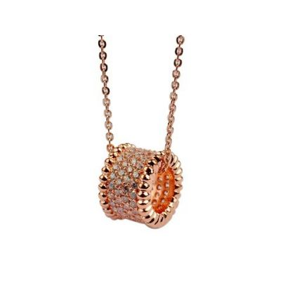 Van Cleef & Arpels Perlee Pendant Necklace Replica 18kt Pink Gold With Paved Diamonds