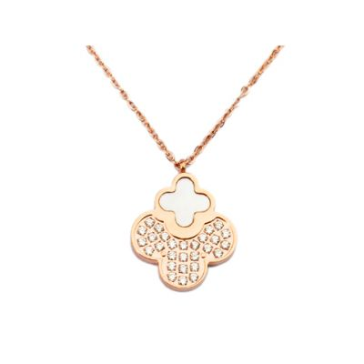 Van Cleef & Arpels Vintage Alhambra Diamonds Pendant Necklace With Pearl Replica 18kt Pink Gold On Sale