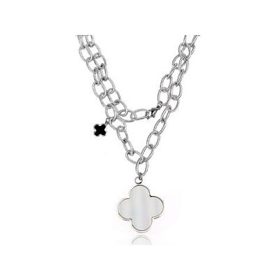 Van Cleef & Arpels Magic Alhambra Replica 18kt White Gold 2 Clover Pendants Necklace Price Malaysia