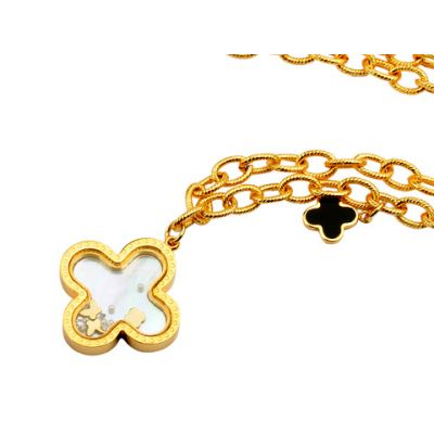 Van Cleef & Arpels Magic Alhambra 2 Clover Pearl Fake 18kt Yellow Gold Necklace Jewelry