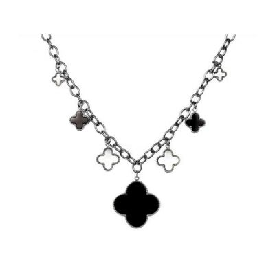 Van Cleef & Arpels Replica Vintage Alhambra 7 Clover Charms Necklace 18kt White Gold Jewellery