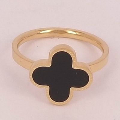 VCA Vintage Alhambra Black Onyx Clover Ring Copy Silver Yellow/Pink Gold UK Sale