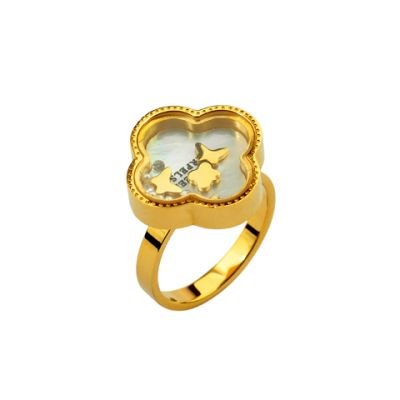 Van Cleef & Arpels Vintage Alhambra Collection Ring Replica 18kt Yellow Gold Clover Design Luxury Jewelry