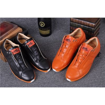 Hermes Male Spring Lace-up Calfskin Leather Mocassins & Loafers Shoes With Rubber Outsole White/Orange