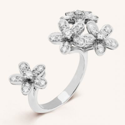 VCA Socrate Between The Finger Ring Diamonds Open Floral White Gold/ Pink Gold Women Jewelry VCARB14500