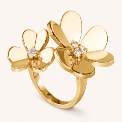 VCA Frivole Between The Finger Ring Floral Crystals Open White / Pink /Yellow Gold Women Fine jewelry VCARB67600