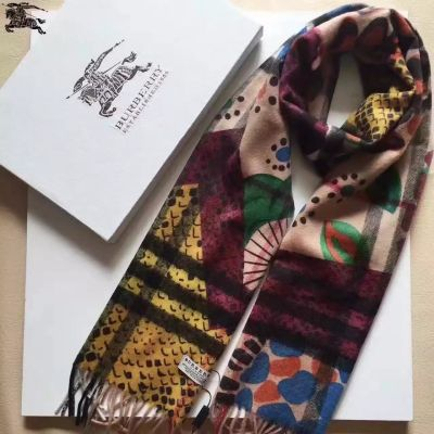 Burberry Multi-Colored Cashmere Scarves Serpentine Blossom Check Patterns With Tassels Soft Warm Street Fashion Unisex UK Sale