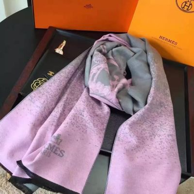 Hermes Purple Cashmere Printing Scarves Shawl French Fringe 2017 New Arrival For Sale Singapore Women