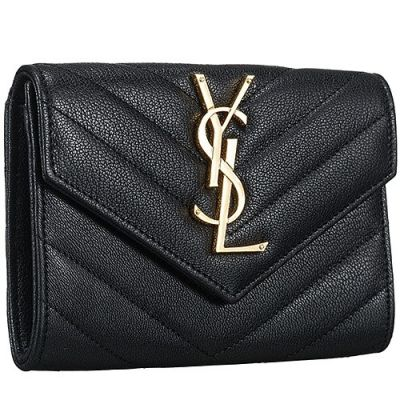 Women's Saint Laurent V-Shaped Pattern Monogram Flip-Open Cover Closure Wallet Black Replica