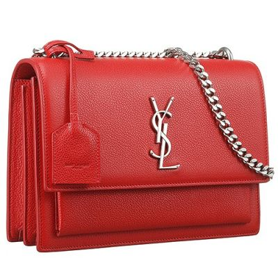 Latested Saint Laurent Red Sunset Flip-Open Cover Closure Silver Metal Trims Shoulder Bag  464673DZG0E6327