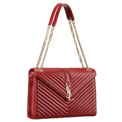 Replica Saint Laurent Women's Monogram Tote Two Chain And Leather Handle Straps Dark Red