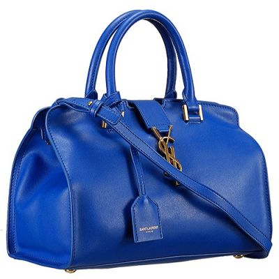 Saint Laurent Small Monogram Cabas Tote Leather Two Round Leather Handle Straps Blue 394461BJ50J4331