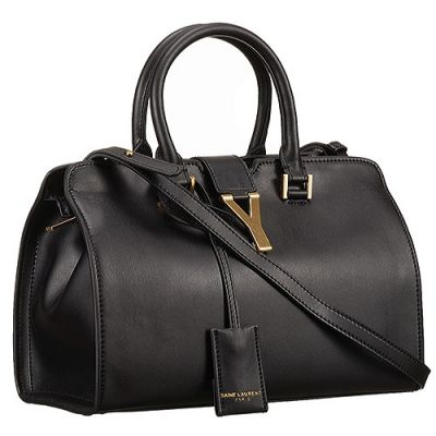 Women's Saint YSL Classic Cabas Tote Bag Two Round Leather Handles Brass Y Logo Front Black