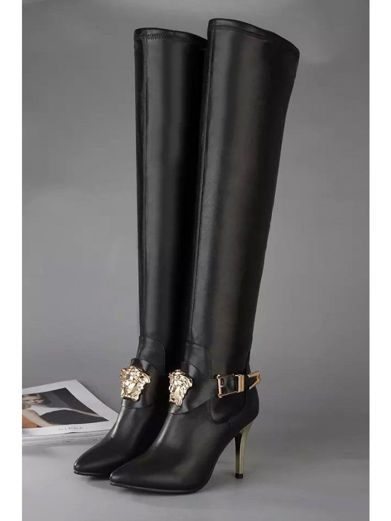 a0512a67 Versace Palazzo Golden Slim Heels Ladies Black Leather High Boots With  Medusa Head And Buckle