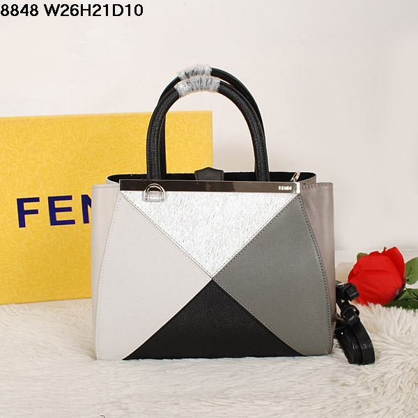 bf19e6153277 Celebrity Style Fendi 2Jours Black Top Handle Multicolor Patchwok Tote Bag  Silver Hardware For Girls