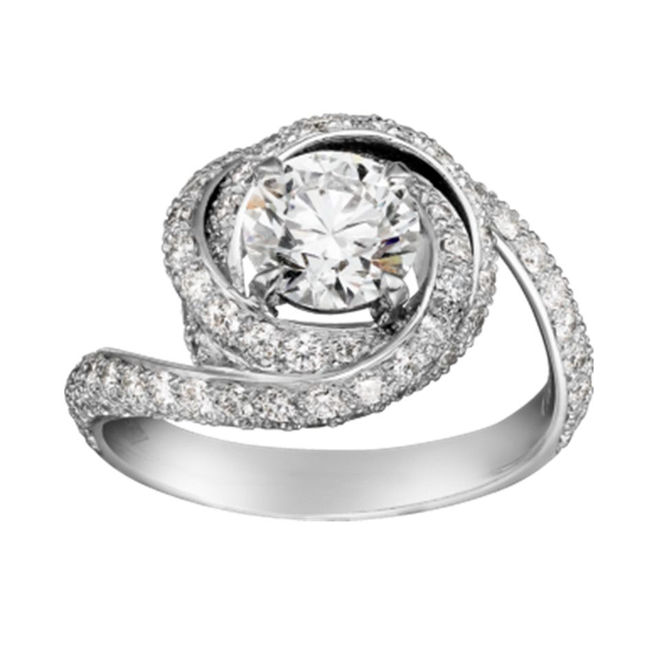 10b4a9bdef259 Cartier Trinity Ruban Diamonds Ring Replica CRN4250400 Sterling Silver With  Two Sub Rings