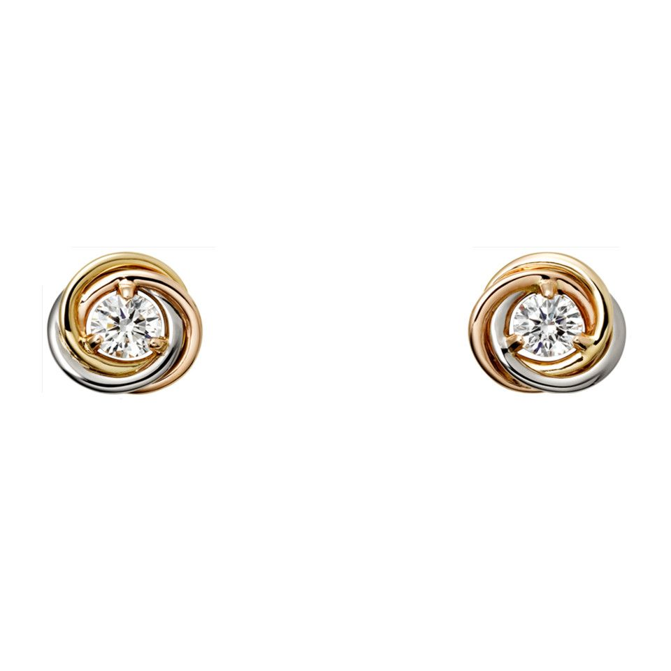 Trinity De Cartier Earrings B8045300 White Pink Yellow Gold Plated Diamond Replica Simple Hot