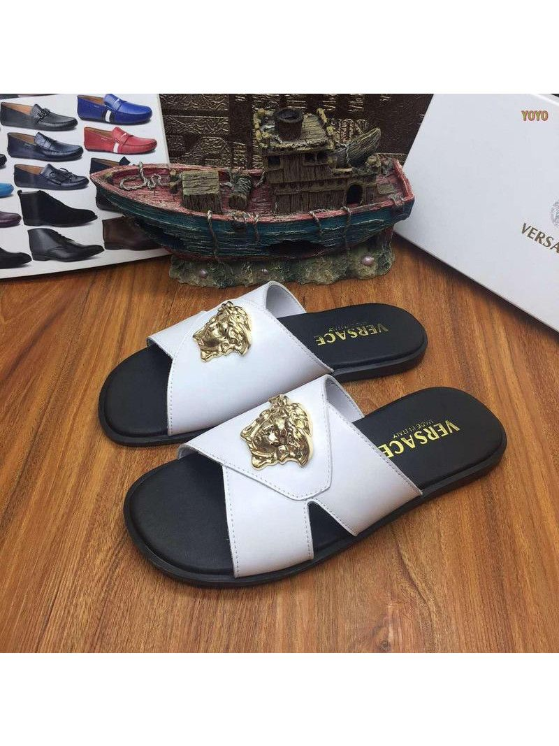 36d4468d9 Cheapest Men s Versace High End Calfskin Leather Yellow Gold Plated Medusa  Pool Slides Red White