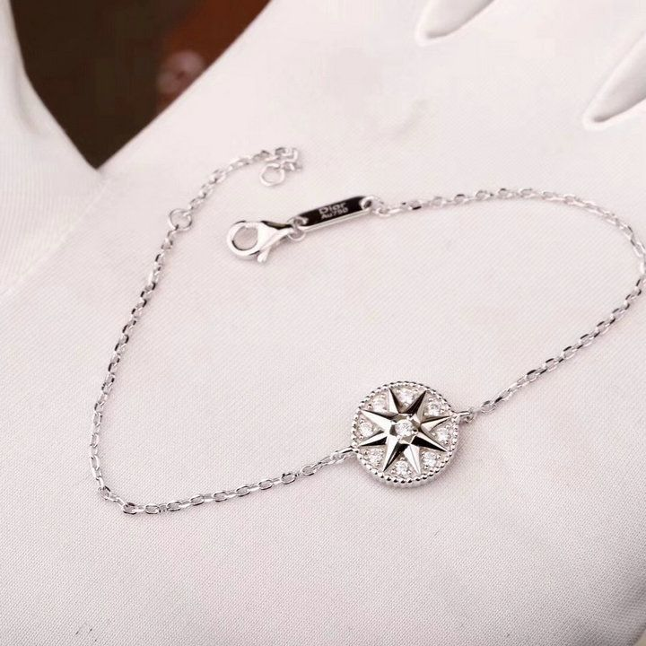 bea35c3be4 Wholesale Christian Dior Rose Des Vents White Gold-plated Chain Bracelet  Crystals Eight Pointed Star Pendant JRDV95031_0000