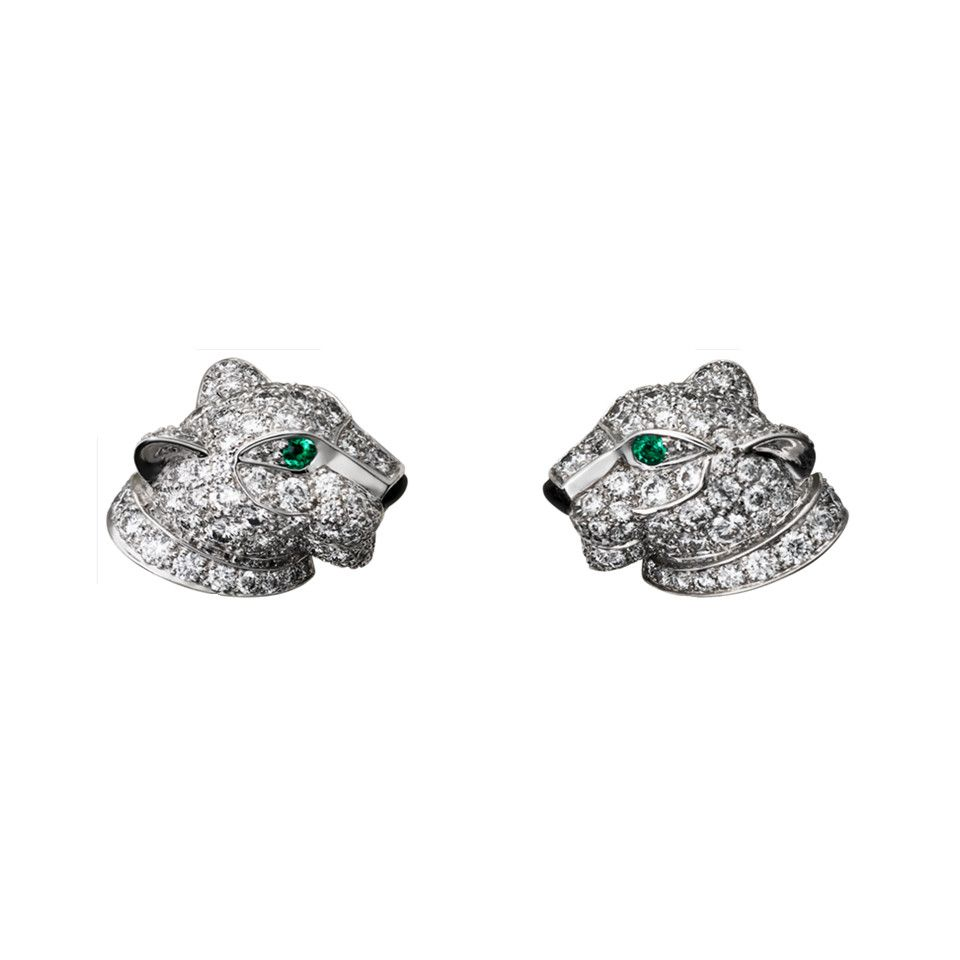 Panthere De Cartier Stud Earrings Replica N8050700 White Gold Diamonds Emeralds Celebrity Style India
