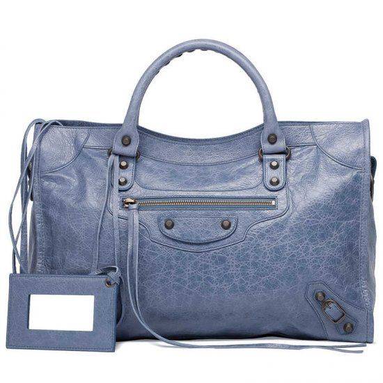 7df5bf904706 Women s AAA Quality Balenciaga Purple Leather Classic City Rounded Top  Handle Studs Clone Motocycle Bag